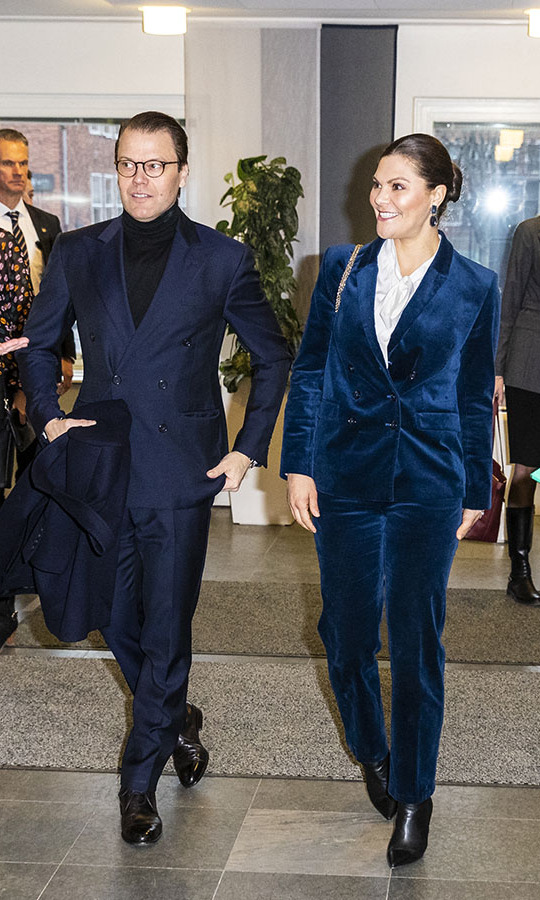 What a dapper duo! <a href=/tags/0/crown-princess-victoria><strong>Crown Princess Victoria</a></strong> and <a href=/tags/0/prince-daniel><strong>Prince Daniel</strong></a> coordinated in blue suits at the National Board Of Health And Welfare in Stockholm on Jan. 16. <p>Photo: &copy; Michael Campanella/Getty Images