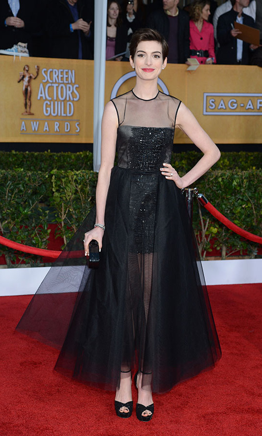 "<h2>Anne Hathaway 2013</h2><p> <a href=""https://ca.hellomagazine.com/tags/0/anne-hathaway""><strong>Anne Hathaway</strong></a> looked like a modern day <strong>Audrey Hepburn</strong> with her cropped hair and black <strong>Giambattista Valli</strong> Haute Couture dress at the 2013 SAG Awards. <p>Photo: © Steve Granitz/WireImage"