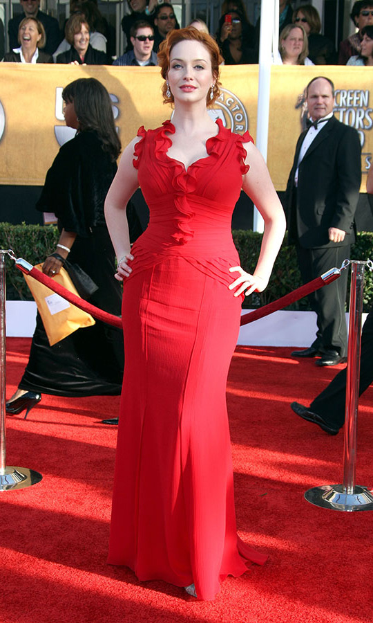 <h2>Christina Hendricks, 2009</h2><p> The <em>Mad Men</em> actress proved that redheads can certainly wear red at the 15th Annual Screen Actors Guild Awards in her ruffled dress. <p>Photo: © Frazer Harrison/Getty Images
