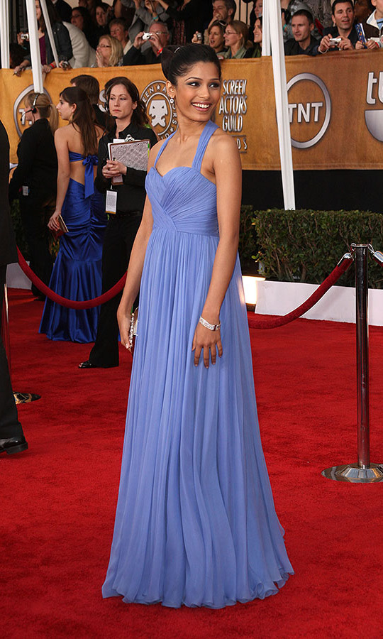 <h2>Freida Pinto, 2009</h2><p> The <em>Slumdog Millionaire </em>star looked lovely in a pleated periwinkle dress. <p>Photo: © Jason Merritt/Getty Images