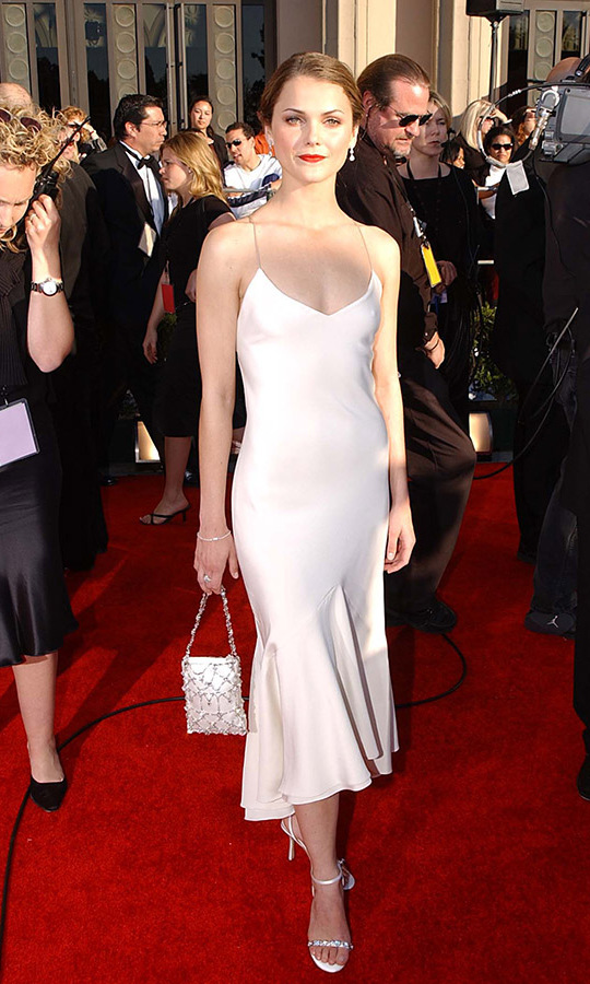 <h2>Keri Russell, 2002</h2><p>The <em>Felicity</em> actress was simply chic in a white dress at the 8th Annual Screen Actors Guild Awards. <p>Photo: © Jeff Kravitz/FilmMagic