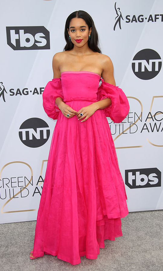 <h2>Laura Harrier, 2019</h2><p> <strong>Laura Harrier</strong> turned heads in a hot pink dress by <strong>Loewe</strong> at the 2019 SAG Awards. <p>Photo: © Dan MacMedan/Getty Images