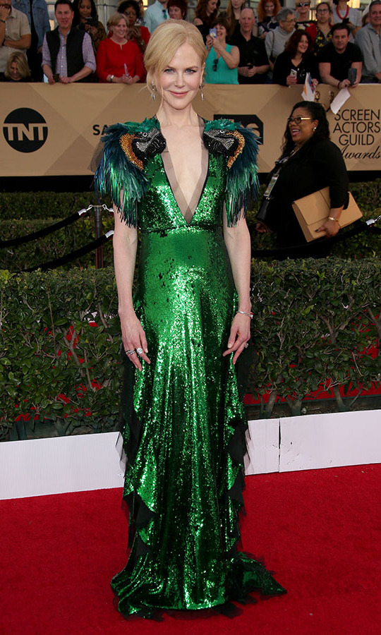 "<h2>Nicole Kidman, 2017</h2><p> All eyes were on <a href=""https://ca.hellomagazine.com/tags/0/nicole-kidman""><strong>Nicole Kidman</strong></a> when she stepped out to the 23rd Annual Screen Actors Guild Awards in a magical emerald green <a href=""https://ca.hellomagazine.com/tags/0/gucci""><strong>Gucci</strong></a> dress with parakeet detail. <p>Photo: © Dan MacMedan/WireImage"