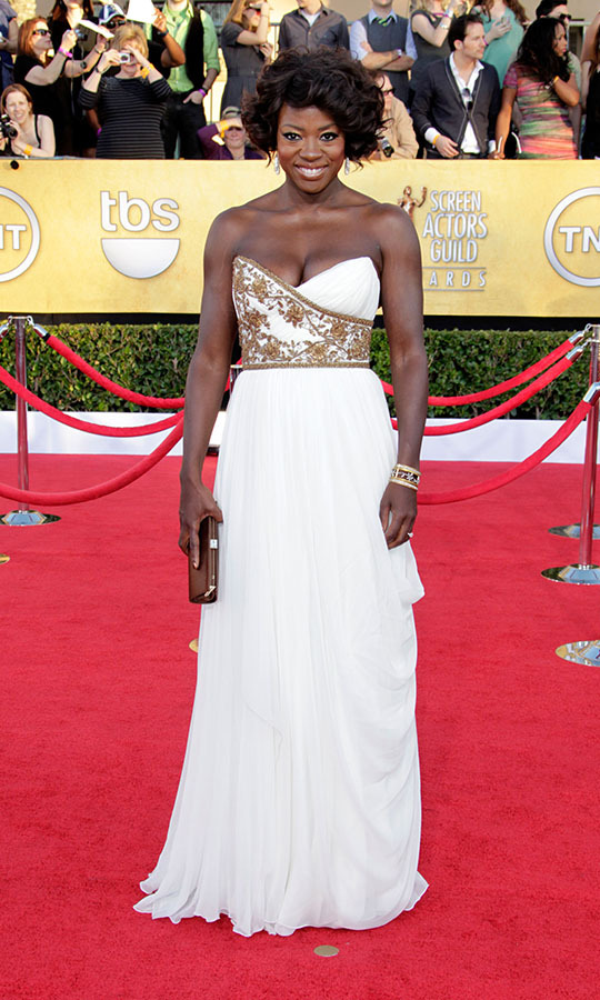 <h2>Viola Davis, 2012</h2><p> The actress's white gown with gold embellishment brought to mind the styles of Ancient Greece. <p>Photo: © Jeff Vespa/WireImage