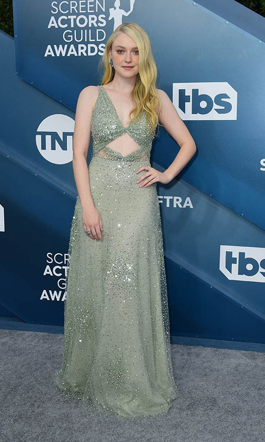 <i>Once Upon a Time... in Hollywood</i>'s <a href=/tags/0/dakota-fanning><strong>Dakota Fanning</strong></a> shone bright in a cut-out gown. <p>Photo: &copy; FREDERIC J. BROWN/AFP via Getty Images