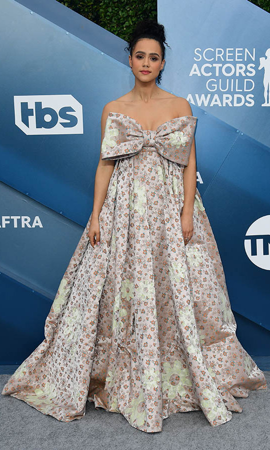 <i><strong><a href=/tags/0/game-of-thrones>Game of Thrones</a></strong></i>'s <strong>Nathalie Emmanuel</strong> was all wrapped up in a printed <a href=/tags/0/miu-miu><strong>Miu Miu</strong></a> gown. <p>Photo: &copy; FREDERIC J. BROWN/AFP via Getty Images