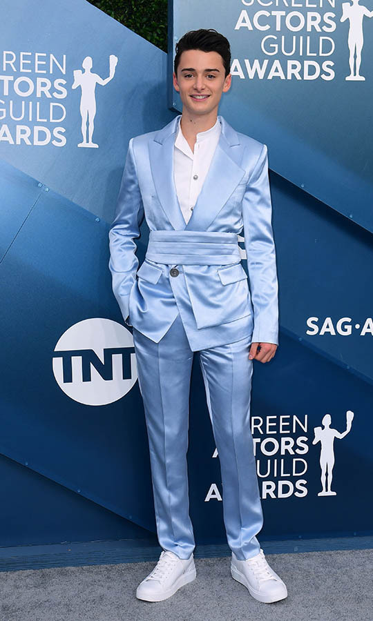 <em>Stranger Things</em>' <strong>Noah Schnapp</strong> looked stylish in a silky blue suit. <p>Photo: &copy; FREDERIC J. BROWN / AFP