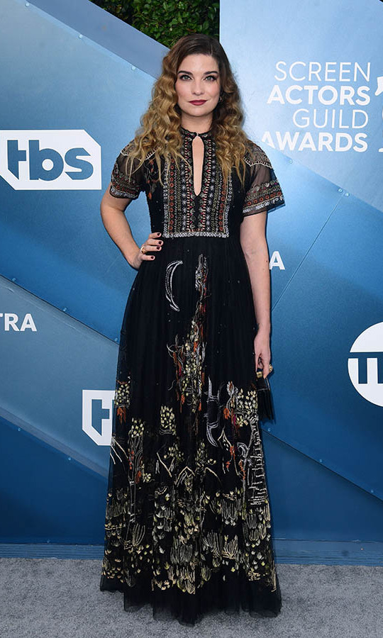 <em>Schitt's Creek'</em>s <strong>Sarah Levy</strong>'s embroidered dress had so many details to take in. <p>Photo: &copy; FREDERIC J. BROWN/AFP via Getty Images