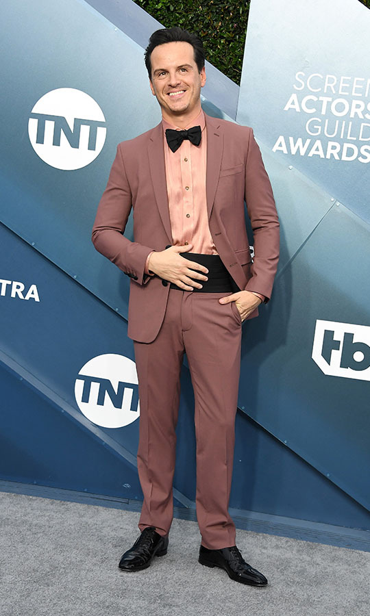 <strong>Andrew Scott</strong> showed his sartorial credentials in a dusty brown suit with peach shirt and black finishing touches. <p>Photo: &copy; Steve Granitz/WireImage