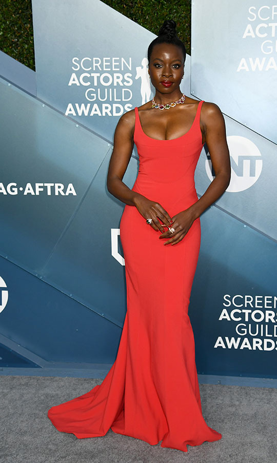 <strong>Danai Gurira</strong> look supremely chic in a vivid red gown. <p>Photo: &copy; Jeff Kravitz/FilmMagic