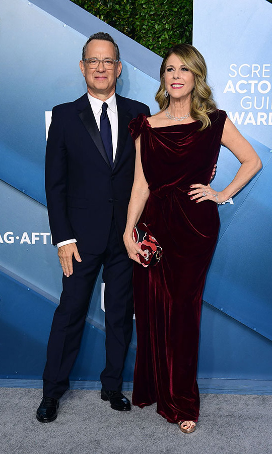 <a href=/tags/0/tom-hanks><strong>Tom Hanks</strong></a> and wife <a href=/tags/0/rita-wilson><strong>Rita Wilson</strong> </a> looked happy as they stepped out to the 2020 Screen Actors Guild Awards.<p>Photo:&copy; FREDERIC J. BROWN/AFP via Getty Images