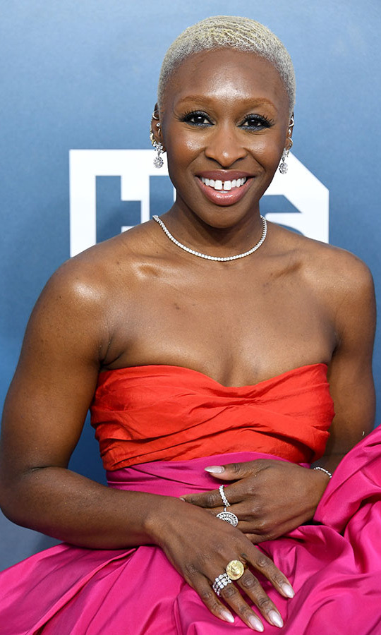 <a href=/tags/0/cynthia-erivo><strong>Cynthia Erivo</strong></a>'s two-tone dress was eye-catching and so was her jewellery. She rounded out her look with a medley of rings, earrings and a delicate necklace. <p>Photo: &copy; Jon Kopaloff/Getty Images