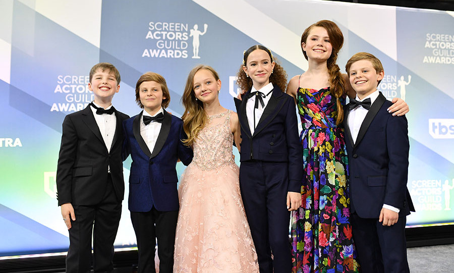 The kids of <em>Big Little Lies</em>, (L-R) <strong>Iain Armitage</strong>, <strong>Cameron Crovetti</strong>, <strong>Ivy George</strong>, <strong>Chloe Coleman</strong>, <strong>Darby Camp</strong> and <strong>Nicholas Crovetti</strong>, all looked so fancy in their red carpet looks. And they struck a group pose with their arms around each other. <p>Photo: &copy; Mike Coppola/Getty Images for Turner