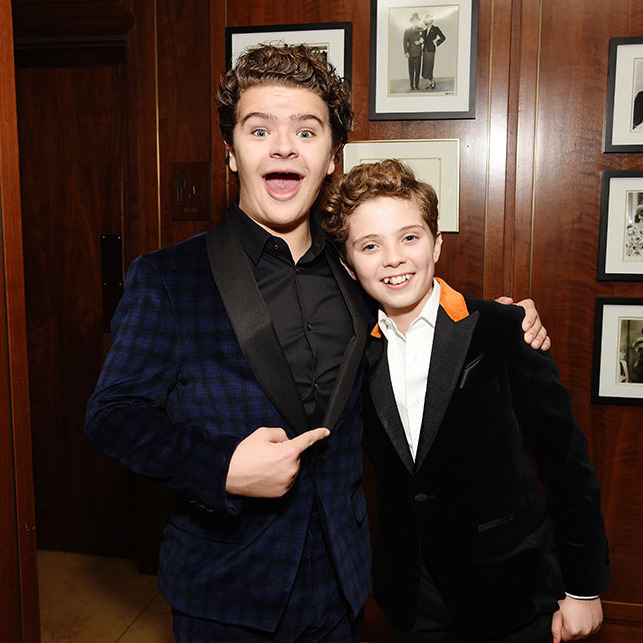 <strong>Gaten Matarazzo</strong> from <em>Stranger Things</em> looked so delighted to meet <em>Jojo Rabbit</em>'s <strong>Roman Griffin Davis</strong> at the 2020 Netflix SAG After Party. We wonder what they talked about! <p>Photo: &copy; Michael Kovac/Getty Images for Netflix