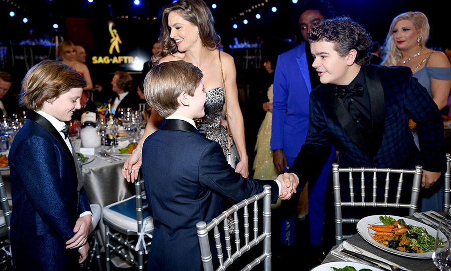 Pleased to meet you! The Crovetti twins from <em>Big Little Lies</em> met <strong>Gaten Matarazzo</strong> of <em>Stranger Things</em> at the Screen Actors Guild Awards. <p>Photo: &copy; Morgan Lieberman/Getty Images
