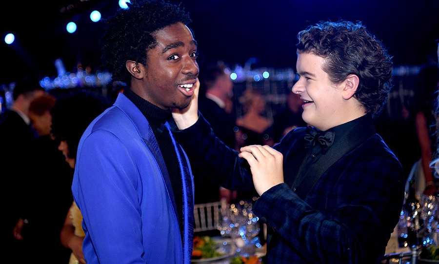 <strong>Caleb McLaughlin</strong> and <strong>Gaten Matarazzo</strong> from <em>Stranger Things</em> got playful at the 26th Annual Screen Actors Guild Awards at the Shrine Auditorium.<p>Photo: &copy; Morgan Lieberman/Getty Images
