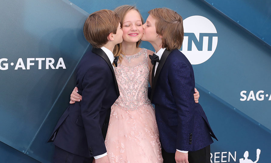 Awwww! <strong>Ivy George</strong> received a double kiss from <strong>Nicholas Crovetti</strong> and <strong>Cameron Crovetti</strong> as they walked the silver carpet. What a sweet moment for the <em>Big Little Lies</em> co-stars. <p>Photo: &copy; Leon Bennett/Getty Images