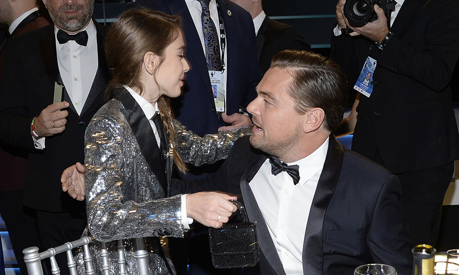 <strong>Julia Butters</strong> hugged her <em>Once Upon a Time... in Hollywood</em> co-star <a href=/tags/0/leonardo-dicaprio><strong>Leonardo DiCaprio</strong></a> during the awards ceremony. <p>Photo: &copy; Kevork Djansezian/Getty Images for Turner