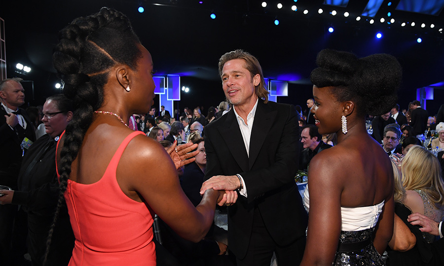 Brad also greeted <strong><a href=/tags/0/lupita-nyongo>Lupita Nyong'o</a></strong> (right), who he worked with in <i>12 Years a Slave</i>, and Lupita's <I>Black Panther</i> co-star, <strong><a href=/tags/0/danai-gurira>Danai Gurira</a></strong>.