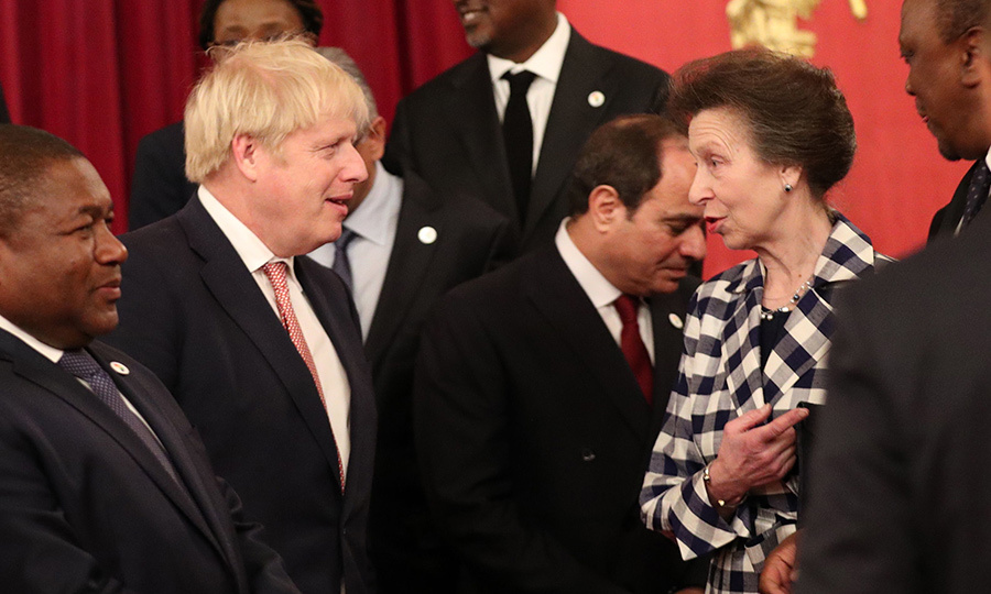 UK Prime Minister <strong><a href=/tags/0/boris-johnson>Boris Johnson</a></strong> and <strong><a href=/tags/0/princess-anne>Princess Anne</a></strong> were spotted chatting.