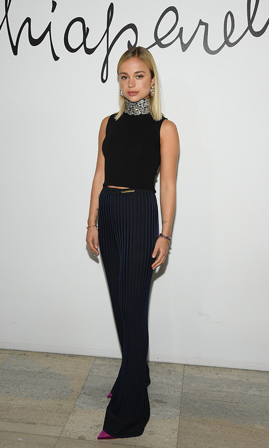 <a href=/tags/0/lady-amelia-windsor><strong>Lady Amelia Windsor</strong></a> hit a fashion forward note with her dark outfit at the <strong>Schiaparelli Haute Couture</strong> Spring/Summer 2020 show during Paris Fashion Week on Jan. 20. <p>Photo: &copy; Pascal Le Segretain/Getty Images