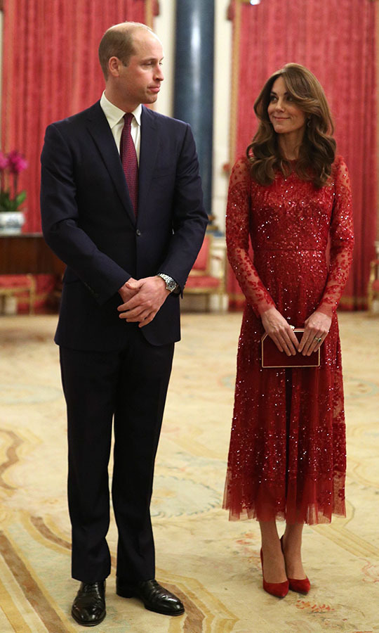 Joining Sophie and Prince Edward at the UK-Africa Summit, <a href=/tags/0/kate-middleton><strong>Duchess Kate</strong></a> was a vision in a twinkling <strong>Needle & Thread</strong> dress with coordinating <a href=/tags/0/gianvito-rossi><strong>Gianvito Rossi</strong></a> heels, clutch and <strong>Soru</strong> ruby earrings. <a href=/tags/0/prince-william><strong>Prince William</strong></a> matched his wife thanks to his red tie! <p>Photo: © YUI MOK/POOL/AFP via Getty Images