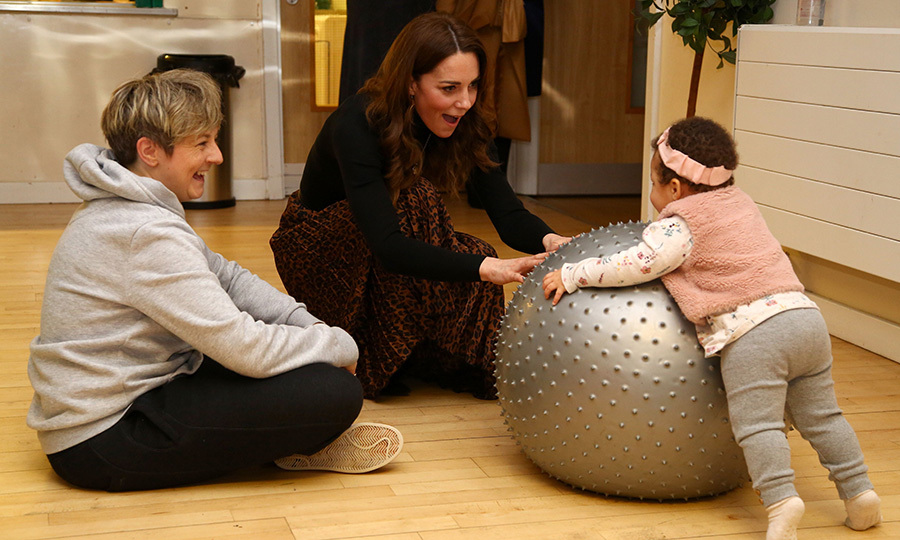 Kate quickly settled in and bonded fast with the children there, like this adorable little tot, who was very keen to play with a pilates ball with her!