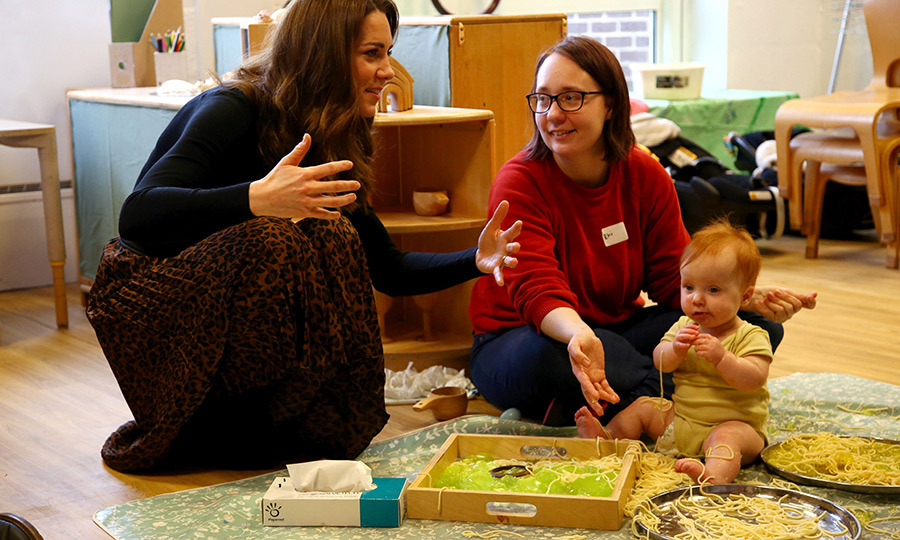 Kate also met <strong>Eleanor Logue</strong>, 11 months, who was enjoying some spaghetti in the baby sensory room! 