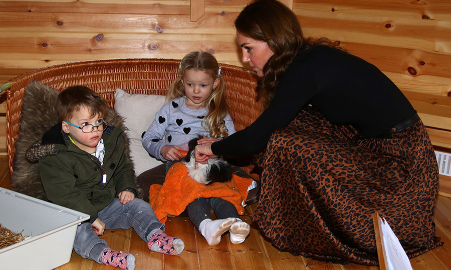 While inside a playhouse at the centre, Kate met two children and their guinea pigs, Willow and Bella. The duchess told them she had guinea pigs as a child, and they told her their pets really loved Brussels sprouts, which she didn't know the animals enjoyed.