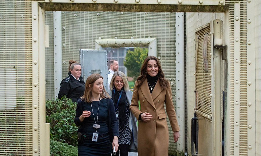 On her second outing of the day, Kate visited HMP Send, a women's prison in Woking, England.
