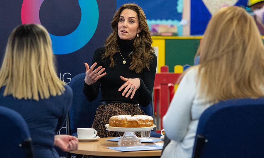 Kate took time to speak with former prisoners over sponge cake and (likely) tea about rehabilitation programs, addiction services and their needs when they were released. Her visit was in connection with The Forward Trust, which operates out of the prison.