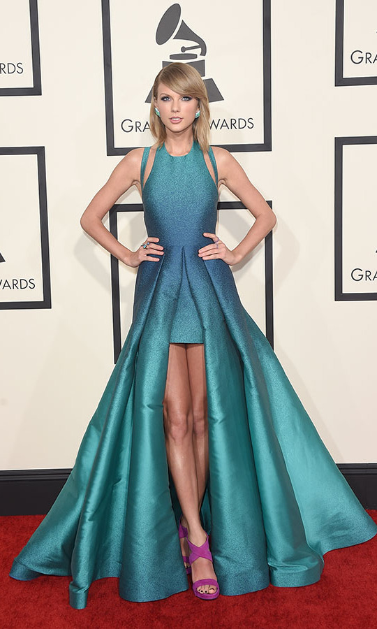 <h2>Taylor Swift, 2015</h2><p><a href=/tags/0/taylor-swift><strong>Taylor Swift</strong></a> was a vision in colour at the 2015 GRAMMYs thanks to her turquoise <a href=/tags/0/elie-saab><strong>Elie Saab</strong></a> gown and purple <a href=/tags/0/giuseppe-zanotti><strong>Giuseppe Zanotti</strong></a> sandals. <p>Photo: &copy; Jason Merritt/Getty Images