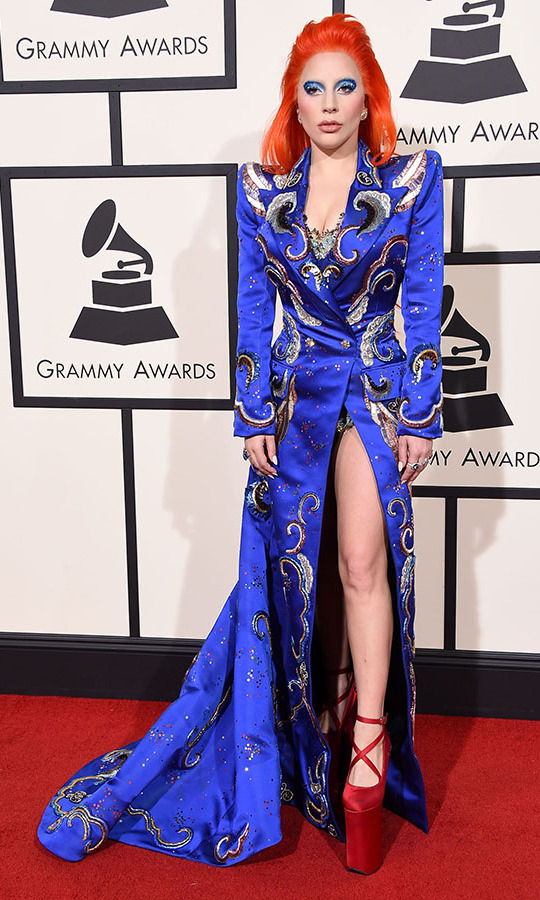 <h2>Lady Gaga, 2016</h2><p><a href=/tags/0/lady-gaga><strong>Lady Gaga</strong></a> channelled <strong>Ziggy Stardust</strong> in a tribute to the late <a href=/tags/0/david-bowie><strong>David Bowie</strong></a> at the 2016 GRAMMYs with her dynamic outfit. <p>Photo: &copy; Steve Granitz/WireImage