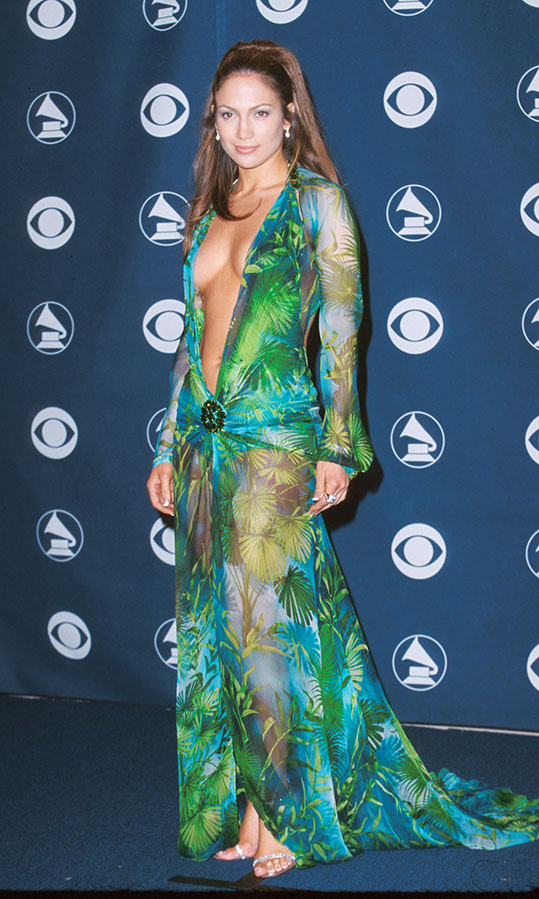 <h2>Jennifer Lopez, 2000</h2><p>There are few more iconic red carpet looks than <a href=/tags/0/jennifer-lopez><strong>Jennifer Lopez</strong></a>'s plunging <a href=/tags/0/versace><strong>Versace</strong></a> gown with tropical print she sported to the 2000 GRAMMYs. It set the bar! <p>Photo: &copy; Jeff Vespa/WireImage