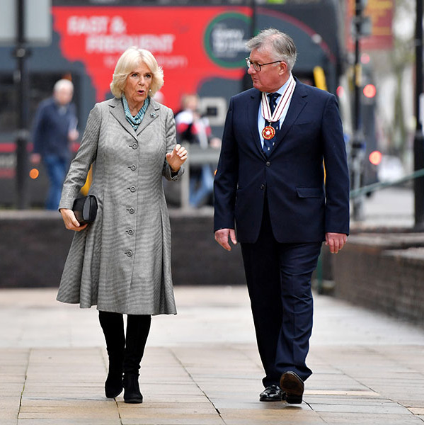 <a href=/tags/0/camilla-parker-bowles><strong>Camilla, Duchess of Cornwall</a></strong> added a touch of colour to her grey coat with light blue accents during the official opening of Lichfield Street Hub on Jan. 22 in Walsall, England. <p>Photo: &copy; Anthony Devlin -WPA Pool/Getty Images