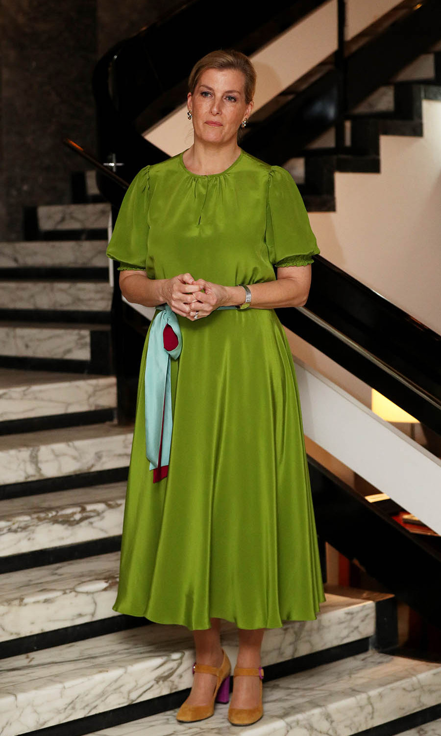 <a href=/tags/0/countess-of-wessex><strong>Sophie, Countess of Wessex</strong></a> looked sensational in a green dress with ochre heels at a reception for UK partners in Sierra Leone at the British High Commissioner's residence in Freetown on the first day of her visit to Sierra Leone (Jan 22). <p>Photo: &copy; Jonathan Brady/PA Images via Getty Images