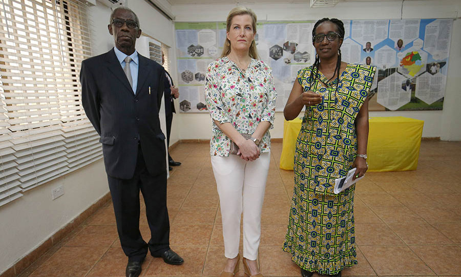Also on Jan. 22, the <a href=/tags/0/countess-of-wessex> <strong>Countess of Wessex</strong></a> looked fresh in a floral blouse and slim white pants as she took in a display alongside <strong>Jon Kamanda</strong>, President of the Residual Special Court for Sierra Leone, and Registrar <strong> Binta Mansaray</strong> at the Sierra Leone Peace Museum, Freetown. <p> Photo: &copy; Jonathan Brady/PA Images via Getty Images