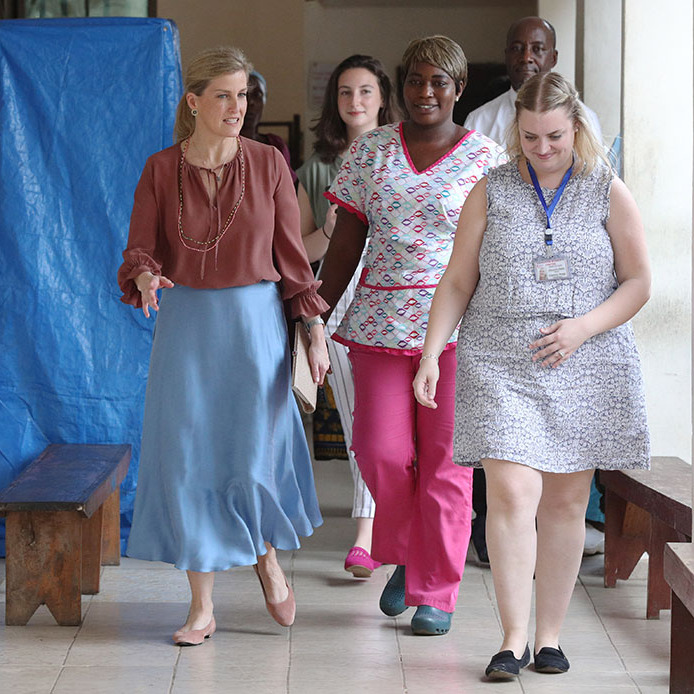 <a href=/tags/0/countess-of-wessex><strong>Sophie, Countess of Wessex</strong></a> has showcased a few refined looks during her visit  to Sierra Leone, including this rust blouse, blue skirt and blush sandals she sported on Jan. 23 to the Aberdeen Women's Clinic in Freetown. <p>Photo: &copy; Jonathan Brady/PA Images via Getty Images