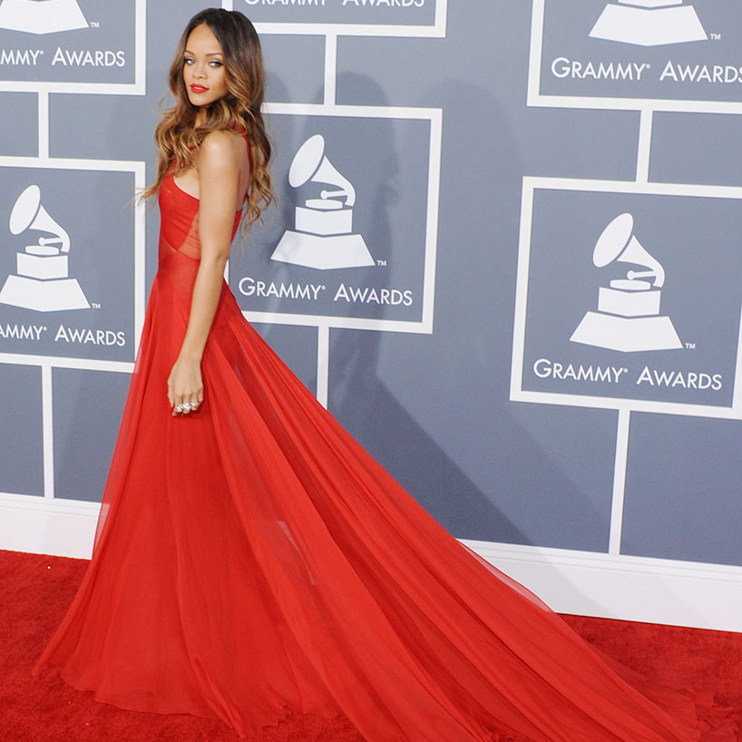 <h2>Rihanna, 2013</h2><p>Lady in red! <a href=/tags/0/rihanna><strong>Rihanna</a></strong> gilded onto the red carpet at the 2013 GRAMMYs in an elegant red tulle gown by <strong>Azzedine Alaïa</strong>. <p>Photo: &copy; Jon Kopaloff/FilmMagic
