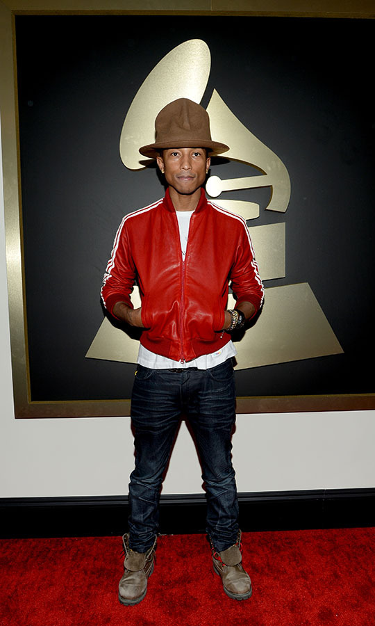 <h2>Pharrell Williams, 2014</h2><p><a href=/tags/0/pharrell-williams><strong>Pharrell Williams</strong></a>'s <a href=/tags/0/vivienne-westwood><strong>Vivienne Westwood</strong></a> Buffalo hat might be the most iconic Grammys accessory of all time. He wore the statement piece to the 2014 GRAMMYs with a red jacket and jeans. <p>Photo: &copy; Larry Busacca/WireImage