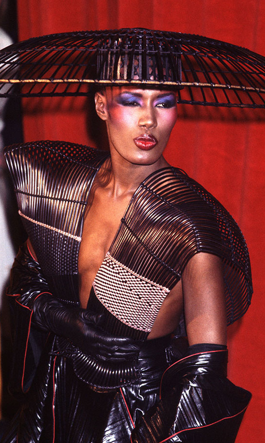 <h2>Grace Jones, 1983</h2><p>The icon struck a fierce pose in an oversized hat and woven ensemble that was equally iconic. <p>Photo: &copy; Chris Walter/WireImage