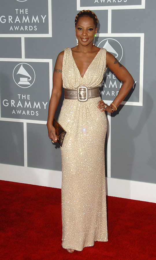 <h2>Mary J. Blige, 2007</h2><p><a href=/tags/0/mary-j-blige><strong>Mary J. Blige</strong></a> sparkled at the 2007 GRAMMYs, where she was nominated and won multiple awards. This gown with metallic belt was also a winning outfit! <p>Photo: &copy; Jon Kopaloff/FilmMagic