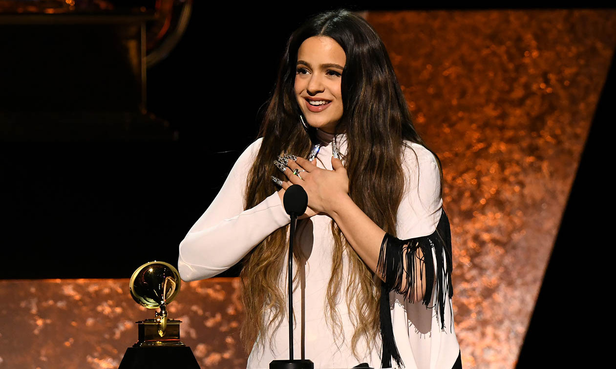 "<strong>Rosalia</strong> gratefully accepts the Best Latin Rock, Urban, or Alternative Album award for ""El Mal Querer."" <p>Photo: &copy; Jeff Kravitz/FilmMagic"