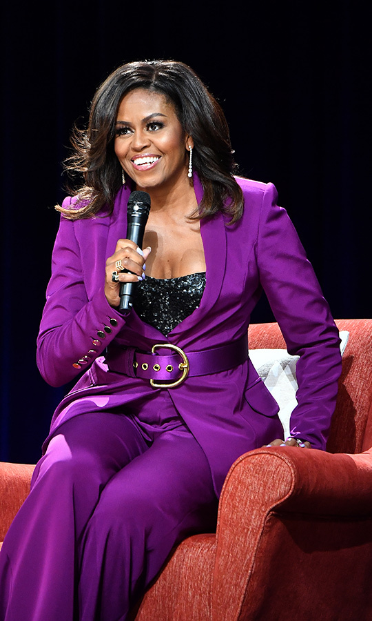 <strong><a href=/tags/0/michelle-obama>Michelle Obama</a></strong> (pictured on tour in 2019) won the Best Spoken Word Album award for her <I>Becoming</I>. 