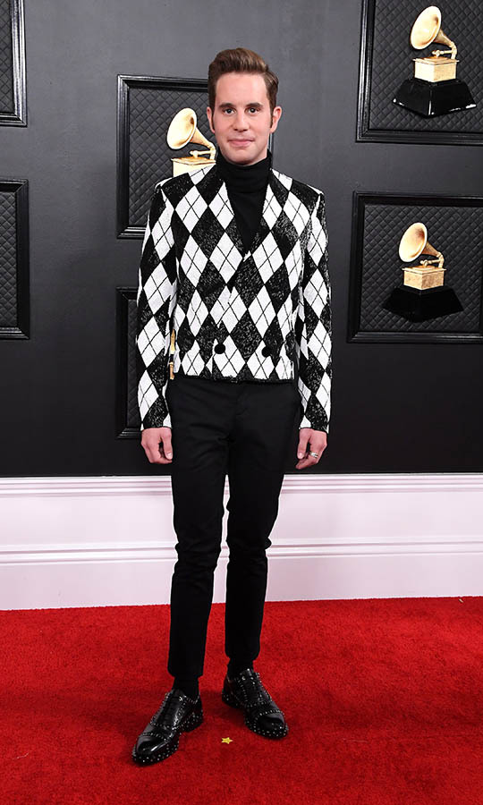 <strong>Ben Platt</strong> made a statement in black and white in an argyle jacket and skinny black trousers. <p>Photo: &copy; Steve Granitz/WireImage