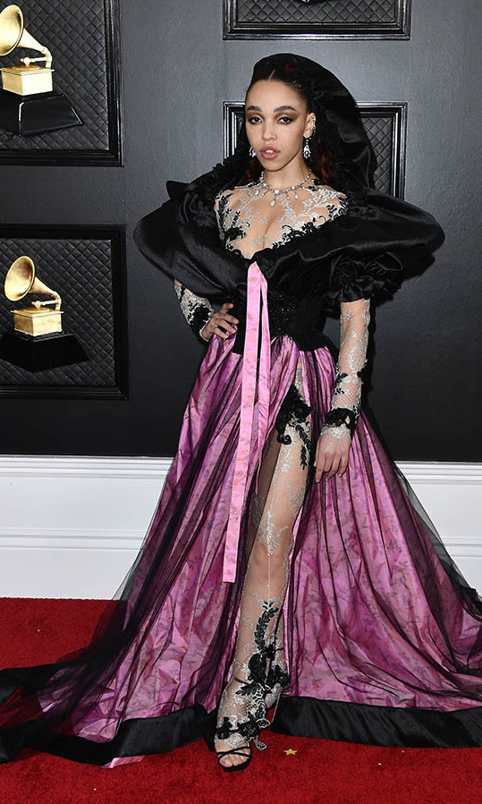 <strong>FKA Twigs</strong>'s Grammys outfit had so many interesting details to take in from the pink ribbon to the sheer trousers with embroidery. <p>Photo: &copy; Frazer Harrison/Getty Images for The Recording Academy