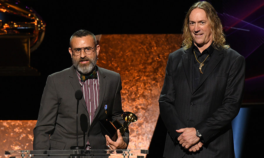 "Bassist <strong>Justin Chancellor</strong> and drummer <strong>Danny Carey</strong> accepted the Best Metal Performance award for <Strong>Tool</strong>'s ""7empest.""