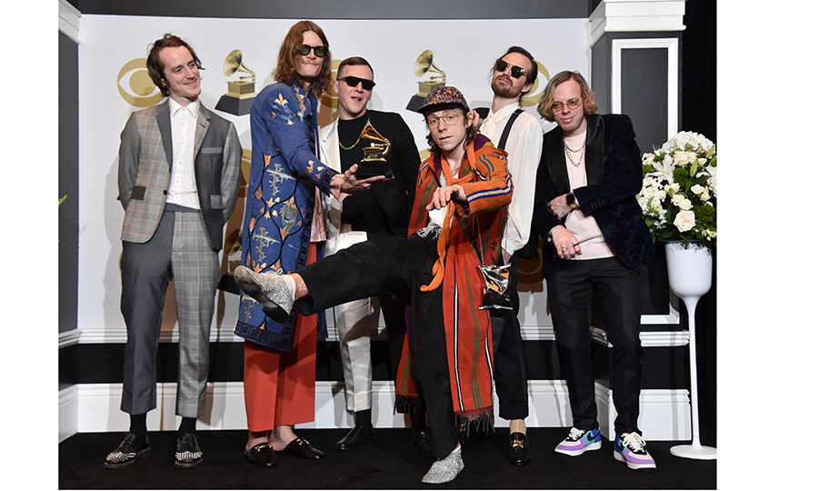 <strong>Cage the Elephant</strong> (pictured on the red carpet this year) won the Best Rock Album award for <I>Social Cues</I>.