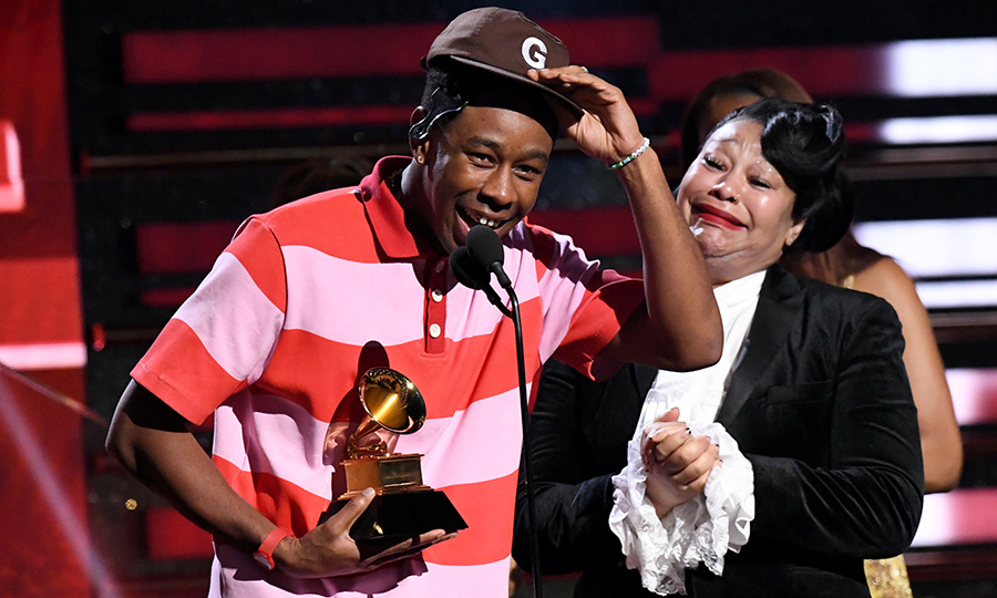 <strong><a href=/tags/0/tyler-the-creator>Tyler, the Creator</a></strong> was joined by his mom on stage as he accepted the Best Rap Album award for <i>Igor</i>. She couldn't stop crying. 