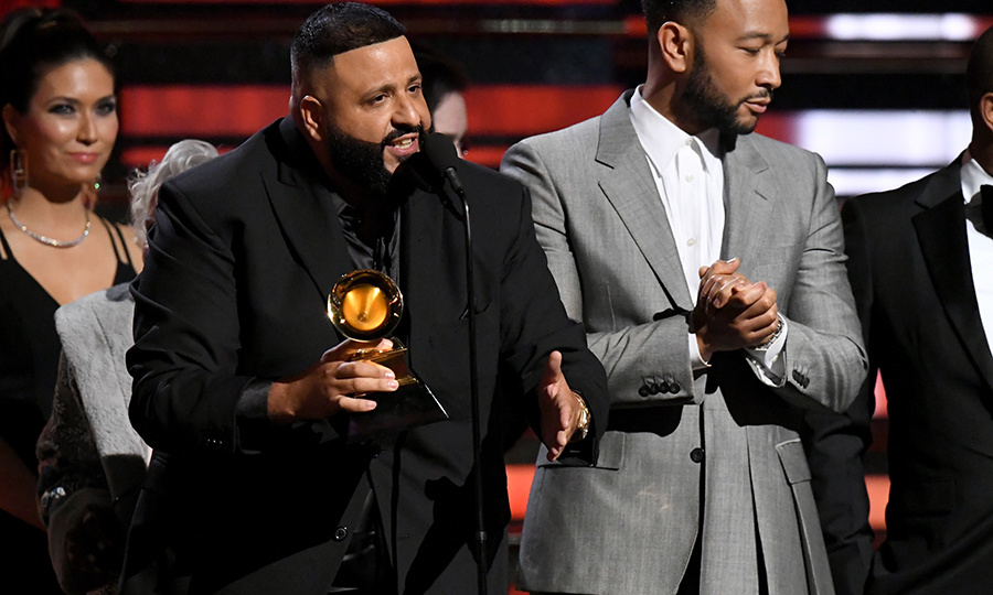 "<Strong><a href=/tags/0/dj-khaled>DJ Khaled</a></strong> and <strong><a href=/tags/0/john-legend>John Legend</a></strong> made moving speeches as they accepted the award for Best Rap/Sung Performance for ""Higher.""